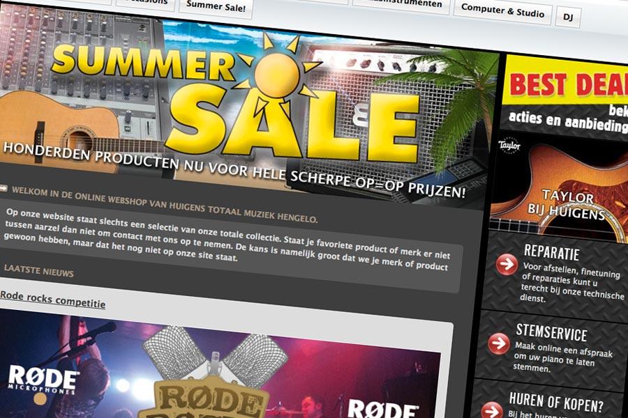 Website en webshop Huigens Totaal Muziek Hengelo