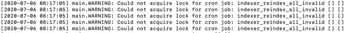 Could not acquire lock for cron job: indexer_reindex_all_invalid